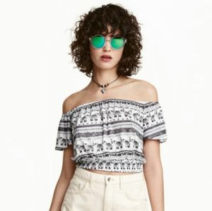 H&M x Coachella off the shoulder boho crop top